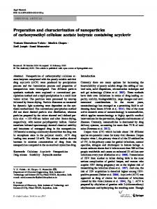 Preparation and characterization of nanoparticles of carboxymethyl ...
