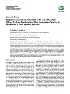 Preparation and Characterization of Ni-Doped Calcium Silicate ...