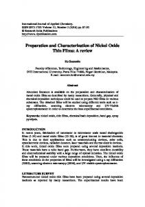 Preparation and Characterization of Nickel Oxide Thin Films: A review