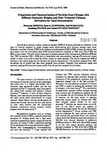 Preparation and Characterization of Particles from Chitosan with ...