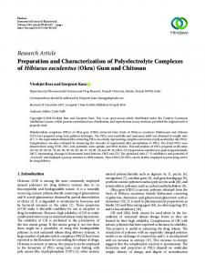 Preparation and Characterization of Polyelectrolyte Complexes of