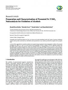 Preparation and Characterization of Promoted Fe-V/SiO 2 ...