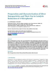Preparation and Characterization of Silver Nanoparticles and Their ...