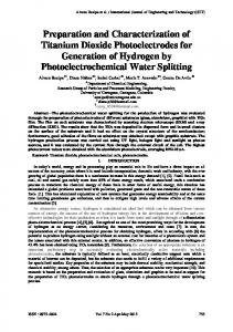 Preparation and Characterization of Titanium Dioxide Photoelectrodes ...