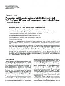 Preparation and Characterization of Visible-Light-Activated Fe-N Co ...