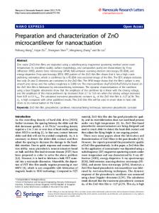 Preparation and characterization of ZnO ... - Nanoscale Research Letters