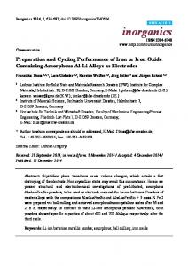 Preparation and Cycling Performance of Iron or Iron Oxide ... - MDPI