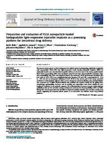 Preparation and evaluation of PLGA nanoparticle ...