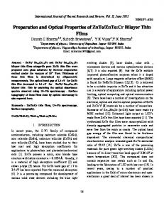Preparation and Optical Properties of ZnTe/ZnTe:Cr Bilayer Thin Films