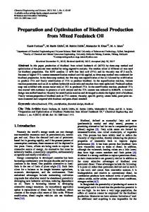 Preparation and Optimization of Biodiesel ... - Semantic Scholar