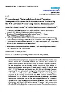 Preparation and Photocatalytic Activity of Potassium-Incorporated