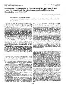 Preparation and Properties of Derivatives of Bovine Factor X and ...