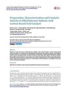 Preparation, Characterization and Catalytic Activity of Alkyl Benzene ...