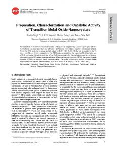 Preparation, Characterization and Catalytic Activity of