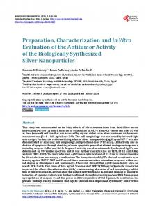 Preparation, Characterization and in Vitro Evaluation of the Antitumor ...