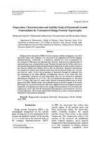Preparation, Characterization and Stability Study of Dutasteride ...