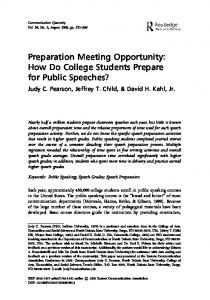 Preparation Meeting Opportunity: How Do College Students Prepare ...