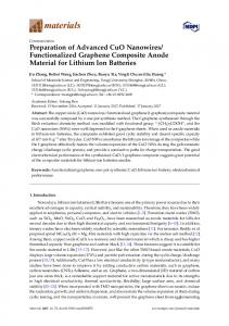 Preparation of Advanced CuO Nanowires/Functionalized Graphene ...