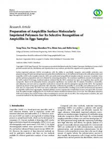 Preparation of Ampicillin Surface Molecularly Imprinted Polymers for