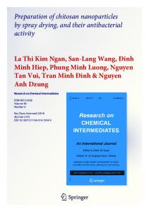 Preparation of chitosan nanoparticles by spray drying ...