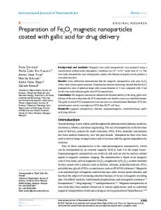 Preparation of Fe O magnetic nanoparticles coated with ... - CiteSeerX