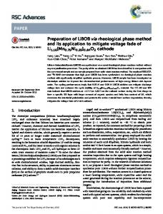 Preparation of LiBOB via rheological phase method and its application ...