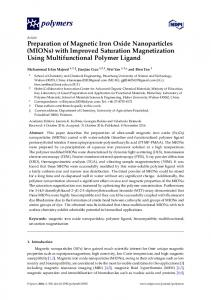 Preparation of Magnetic Iron Oxide Nanoparticles - MDPI
