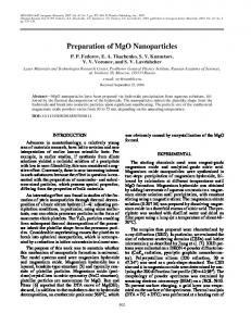 Preparation of MgO Nanoparticles