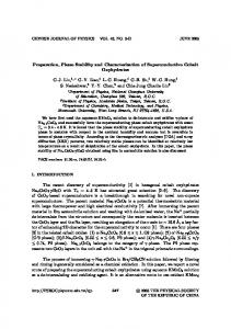 Preparation, Phase Stability and Characterization of Superconductive ...