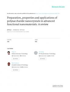 Preparation, properties and applications of