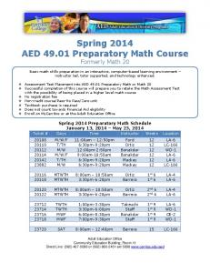 Preparatory Math Class Schedule for Spring 2014