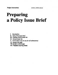 Preparing a Policy Issue Brief