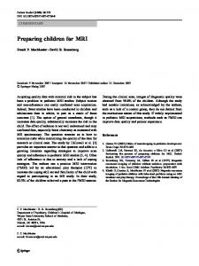 Preparing children for MRI - Springer Link