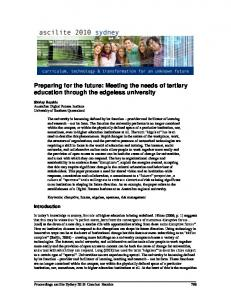 Preparing for the future: Meeting the needs of tertiary education ...