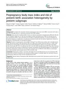 Prepregnancy body mass index and risk of preterm birth: association ...
