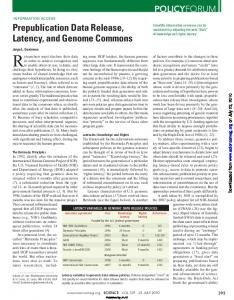 Prepublication Data Release, Latency, and Genome Commons