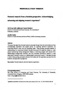 PREPUBLICATION VERSION Doctoral research from ...
