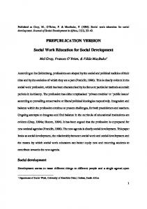 PREPUBLICATION VERSION Social Work Education ...