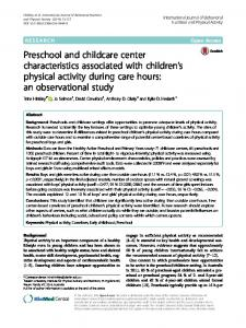 Preschool and childcare center characteristics associated with ...