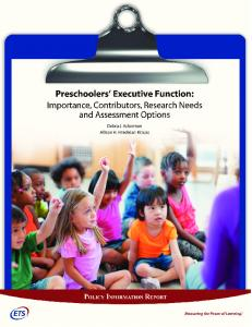 Preschoolers' Executive Function: Importance ... - Wiley Online Library