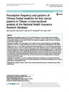 Prescription frequency and patterns of Chinese herbal medicine for ...