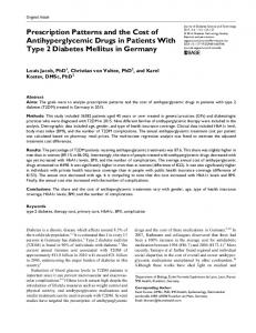 Prescription Patterns and the Cost of ... - SAGE Journals