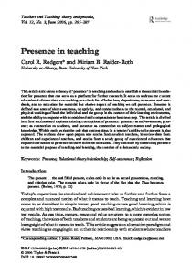 Presence in teaching - Center for Teaching and Learning