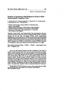Presence of Cytochrome P450 Enzymes in Human CD34+ ...