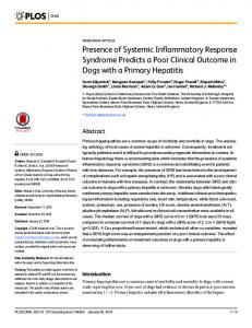 Presence of Systemic Inflammatory Response Syndrome ... - PLOS