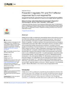 Presenilin1 regulates Th1 and Th17 effector responses but is ... - PLOS