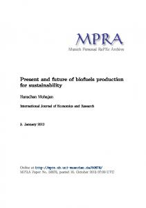 Present and future of biofuels production for sustainability