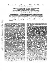 Preservation Macroscopic Entanglement of Optomechanical Systems ...