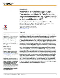 Preservation of Helicobacter pylori CagA Translocation ... - CiteSeerX