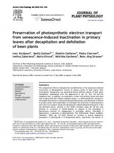 Preservation of photosynthetic electron transport from ...